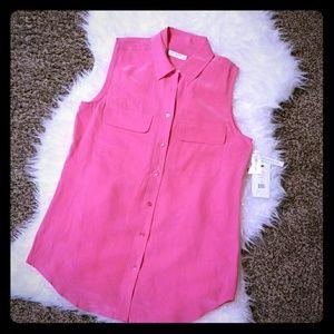 💗NWT Equipment Femme Pink Silk Sleeveless Blouse